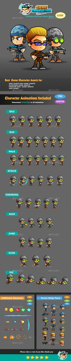 Soldiers 2D Game Character Sprites 209 - Sprites #Game Assets Download here: https://graphicriver.net/item/soldiers-2d-game-character-sprites-209/15883208?ref=alena994