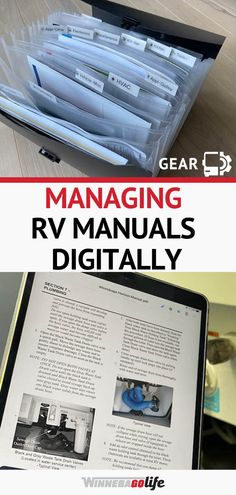 Do you need to organize your owner manuals for your motorhome or travel trailer?  If you are a full time rver you'll need easy access to your manuals for DIY projects on your rig, or when an emergency repair is needed. With our how-to guide we will help you find the best way to organize your manuals, digitally or in a divided organizer, so that you can access the information quickly. Use these methods to organize just about anything and simplify your life. #WinnebagoLife #RVOrganization Rv Organization, Road Trip Adventure, Rv Parks, Rv Travel, Rv Life, Rv Living, Easy Access, Motorhome, Trip Planning