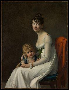"Marie Guillelmine Benoist: ""Madame Philippe Panon Desbassayns de Richemont""Jeanne Eglé Mourgue, 1778–1855) and Her Son, Eugène"", 1802,  Oil on canvas, Dimensions:46 x 35 1/4 in. (116.8 x 89.5 cm), Current location: The Met."