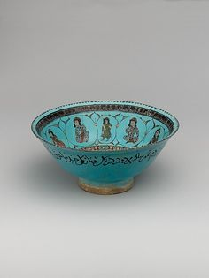 Bowl with a Lute Player Object Name: Bowl Date: late 12th–early 13th century Geography: Iran Culture: Islamic Medium: Stonepaste; polychrome inglaze and overglaze painted and gilded on opaque monochrome glaze (mina'i)