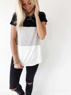 color block striped top   ROOLEE