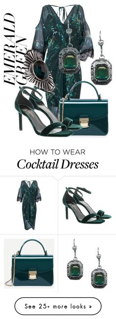 """""""shades of green"""" by honeysuckelle on Polyvore featuring Hope and Ivy, Yves Saint Laurent, Forever 21 and emeraldgreen"""