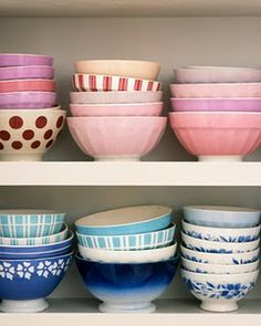 All different styles, colors and patterns of bowls for the kitchen. YES.
