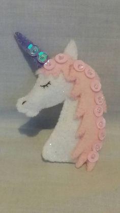 Felt Unicorn Brooch  Unicorn Jewellery  by CarrotTopsCharacters