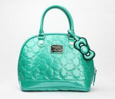 Hello Kitty Embossed Handbag: Emerald in Bags Bags + Wallets Handbags at Sanrio