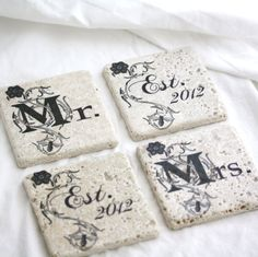 Est 2012 Mr and Mrs Coasters- Handcrafted stone coasters for a special wedding gift by Milk and Honey Luxuries $15