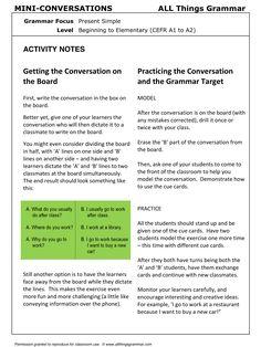 English Grammar, Conversation Practice Activity PRESENT SIMPLE, Mini-Conversations, http://www.allthingsgrammar.com/present-simple.html