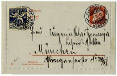 "Airmail Munich - Semi-official airmail stamp on letter card with cancel ""Flugpost München 05.11.1912""."