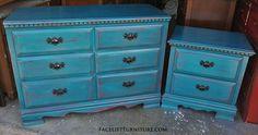 Peacock Blue over Red Dresser & Nightstand FLF