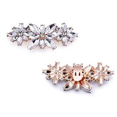 Clips Elegantpark Perle Accessoires Mode Femme Ae01 Or Rhinstones Clips 2 Pcs K5aMv3Rq9