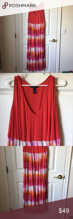 INC maxi dress This INC maxi dress has a red top with a red, pink, white, and orange tie dye bottom. It's beautiful in person and incredibly lightweight. Perfect for summer! Worn once. INC International Concepts Dresses Maxi