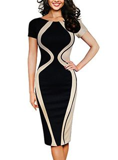 Womens Colorblock Crew Neck fitted Formal Business Pencil Dress Notice: S-2XL available,please check our size information before placing order.if you are not sure about the size, One size up is good choice. How to choose proper size? Hint 1: Bust Size is the most important reference for this...