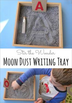 A space-themed twist on the classic salt writing tray! I called it a Moon Dust Writing Tray to spark an interest in writing with my son! And it worked! Space Theme Preschool, Space Activities, Preschool Literacy, Literacy Activities, Preschool Activities, Kindergarten Learning, Montessori, Couple Ulzzang, Outer Space Theme