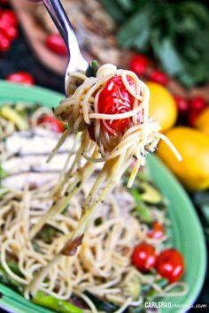 Healthy Roasted Vegetable Lemon Basil Pasta. (To make GF use brown rice pasta, Jovial tastes as good as semolina!)