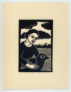 Nicola Barsaleau. Woman, Bird and Clouds,  linocut.