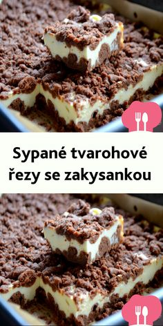 Sypané tvarohové rezy se zakysankou Brownie Cupcakes, Sweet Desserts, Love Is Sweet, International Recipes, Cheesecake, Deserts, Goodies, Food And Drink, Low Carb