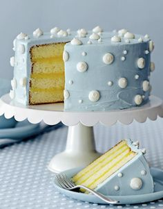 Pretty Picture of Pale Blue Polka Dotted Cake