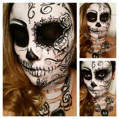 Day of the dead, dia de los muertos, sugar skull face paint , makeup