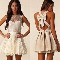 dress, lace, nude, bow, Bow Back Dress, sleeveless - Wheretoget