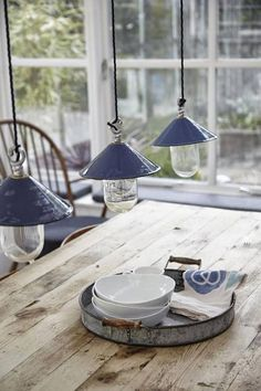 Fabulous Rustic French Country Farmhouse Kitchen + Vintage + Distressed Wood + Enamel Blue Lighting Pendants.