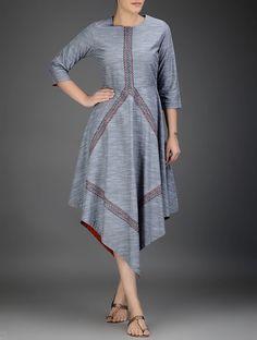 Grey-Red Round Neck Asymmetrical Cotton Chambray Dress Kurta Designs Women, Kurti Neck Designs, Kurti Designs Party Wear, Frock Fashion, Fashion Dresses, Box Pleated Dress, Dress Skirt, Pakistani Designer Suits, Designer Kurtis