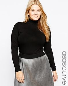 ASOS CURVE Long Sleeved Top With Turtleneck
