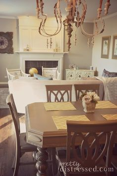 Antique table refinished with Chalk Paint by Annie Sloan in Coco.