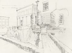 A drawing made in the George Eastman House gardens using a tent camera obscura.