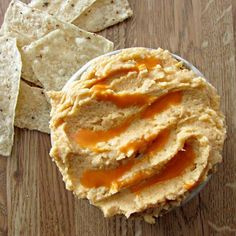 This spicy buffalo hummus is so quick to make and delicious to enjoy with tortilla chips or fresh veggies!