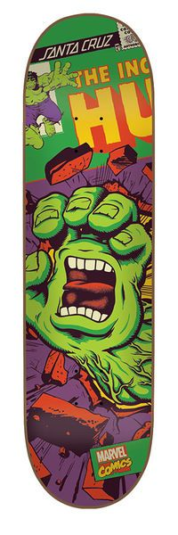 Santa Cruz Skateboards: Decks: 8.26in x 31.7in Marvel Hulk Hand Deck