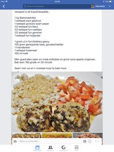 Maalvleis bolletjies Gouda, Afrikaans, Cheddar, Beef Recipes, Dinner, Meat Recipes, Cheddar Cheese, Suppers, Afrikaans Language