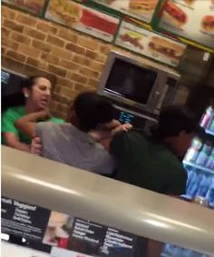 CAUGHT ON CAMERA: Employees Brawl at Food Court Subway - They are so hardcore in FL ....>___<