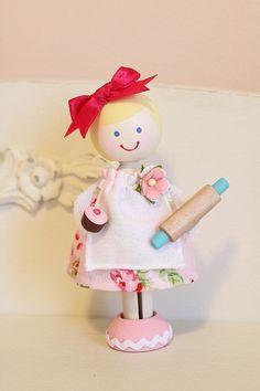 Wooden Doll Baking Birthday Cake Doll Topper by addielillian, $35.00
