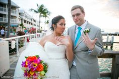 """Love the blue, the orange and the personal touches like the Game of Thrones boutonniere and Ghostbusters cufflinks! """"Nerd chic"""" alert! Call Erin at 305.292.4366 to have your wedding at the Westin."""
