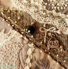 I ❤ crazy quilting, beading & embroidery . . . (translated) In this snippet, I was trying to think about February 23, portrayed a bit of a defensive military camouflage nets and of course our favorite box of gifts for men.~By NinaAlekc