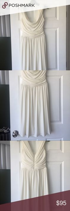 Maggie London Draped Bodice Dress Absolutely stunning Maggie London Dress with beautiful cowl draped neckline and deep V back. Simply beautiful dress.  A must have for sure. Maggy London Dresses Midi