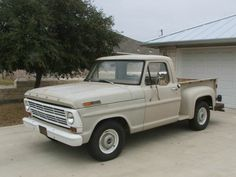 I am currently fixing up a 1967 Ford Stepside just like this one. I want to finish fixing it and getting it inspected before i get my driver's license. I enjoy repairing this truck, and I will feel great knowing that I fixed the car that I am driving. Ford Pickup Trucks, Toy Trucks, Car Ford, Ford 4x4, Ford Bronco, Classic Ford Trucks, Best Car Insurance, Vintage Trucks, Vintage Toys