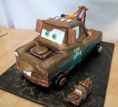 "I decided to include some progressive photos of the Tow Mater cake I made for a little boy turning 4.  I baked a 12""x 18"" vanilla sheet cake..."