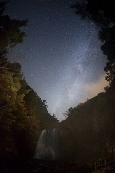 Milky Way waterfall by masahiro miyasaka, via Flickr... Really awesome shot!