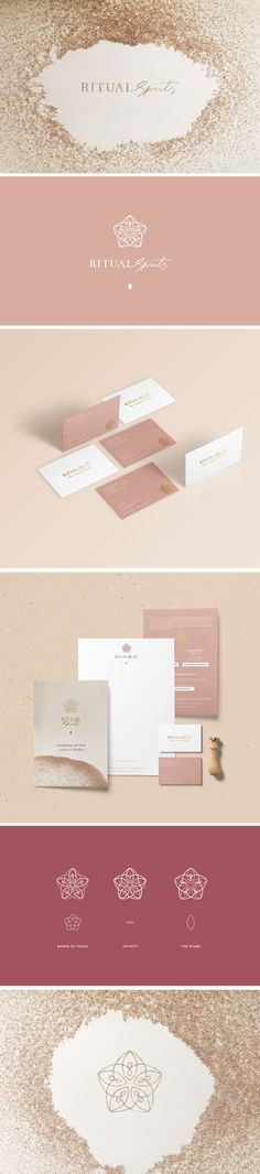 New in Portfolio: Ritual Spirits by Cocorrina. Stationery and brand design for a luxury spa brand. Brand Identity Design, Graphic Design Branding, Stationery Design, Corporate Design, Graphic Designers, Ritual Spirit, Online Art Courses, Luxury Logo, Luxury Spa