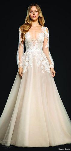 hayley paige bridal spring 2017 (winnie) illusion bishop long sleeves lace bodice v neck embellished a line wedding dress mv