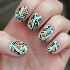 pizza nail art