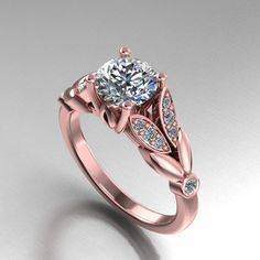 rose gold diamond and moissanite engagement ring, diamond pave ring, style 28RGDM