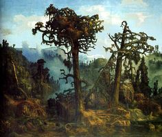 Lars Hertervig (Norwegian, Old Pine Trees, oil on canvas, 64 x cm, Museum Stavanger Fantasy Landscape, Landscape Art, Landscape Paintings, Stavanger, Forest Scenery, Drawing School, Art Graphique, Romanticism, Larp