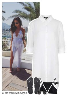 """""""At the beach with Sophia"""" by sixsensestyles ❤ liked on Polyvore featuring Topshop, Melissa Odabash and Havaianas"""
