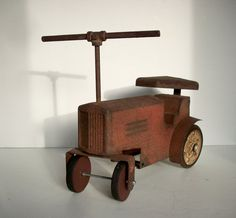 SALE Vintage Tin Tractor Riding Toy / Rusty Tin Toy by urgestudio
