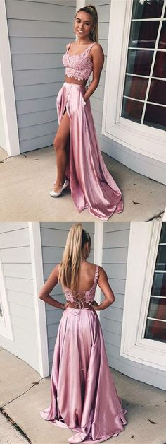 Two Piece Square Lace-Up Pink Split Prom Dress with Lace Pockets Prom Dress Two Piece, Prom Dress, Pink Prom Dress, Lace Prom Dress Prom Dresses 2019 Split Prom Dresses, Prom Dresses Two Piece, Prom Dresses For Teens, Two Piece Dress, The Dress, Homecoming Dresses, Dress Lace, Dress Prom, Prom Two Piece
