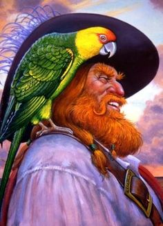 578ae31b14f99 Frederick Barbarossa (Redbeard) and Paully the Parrot ~ by Lionheart  Designs Пираты Арт