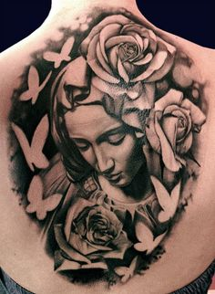 Realistic black and gray Virgin mary tattoo works by Matteo Pasqualin Dream Tattoos, Time Tattoos, Back Tattoos, Body Art Tattoos, Sleeve Tattoos, Mary Tattoo, Tattoo Skin, Virgen Maria Tattoo, Trendy Tattoos