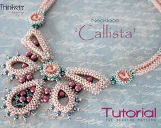 Tutorial for beadwoven necklace 'Callista' - PDF beading pattern - DIY